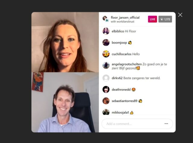 Floor Jansen and Jonathan Barnard chat on Instagram